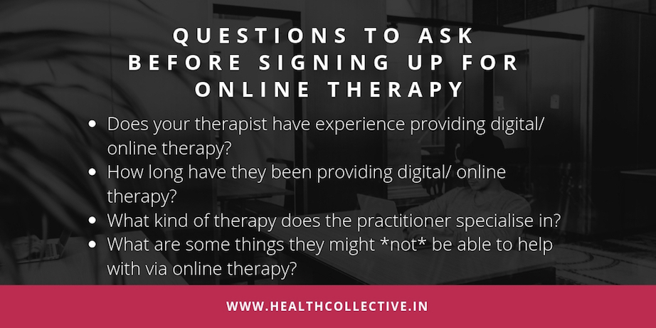 Infographic on Questions to ask before Online Therapy