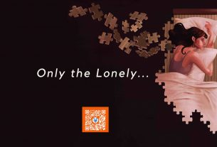 Image of Girl in bed with jigsaw puzzle pieces with text that says only the lonely